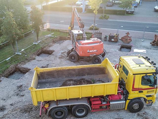 Ausschachtungsarbeiten für die Fundamente