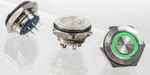 Edelstahl Drucktaster HBGQ-16SF mit Ring LED